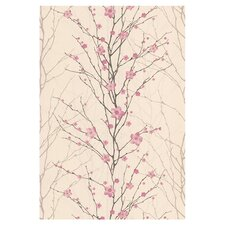 Spirit Vitality Floral Botanical Wallpaper in Beige & Pink