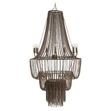 Maxim 7 Light Iron Beaded Chandelier in Antique Brass