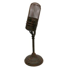 Microphone Statue in Rust Bronze