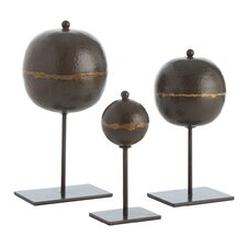 Rocco 3 Piece Sculpture Set in Black & Copper