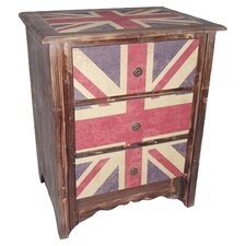 Union Jack 3 Drawer Cabinet in Brown