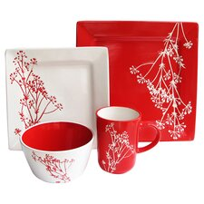 Blossom Branch 16 Piece Dinnerware Set in Red
