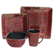Mojave 16 Piece Dinnerware Set in Red