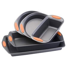 Rachael Ray Yum-O Nonstick 5 Piece Bakeware Set in Grey & Orange
