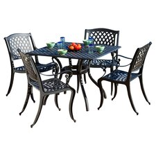 Messina 5 Piece Dining Set in Black Sand