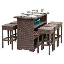 Hermosa 7 Piece Dining Set in Brown