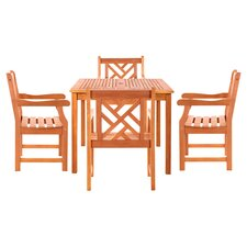 Danis 5 Piece Dining Set in Natural