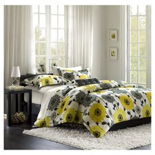 Anthea Big Flower Comforter Set in Yellow