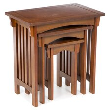 3 Piece Nesting Table Set in Oak