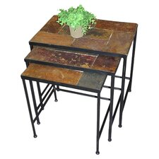 3 Piece Nesting Table Set in Brown