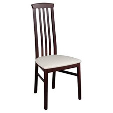 York Slatted Back Dining Chair in Mahogany & Cream