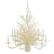 Seaward 12 Light Candle Chandelier in White Sand