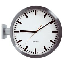 Double Sided Wall Clock in Silver
