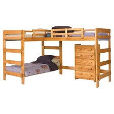 Amanada Twin Over Twin L-Bunk Bed in Honey