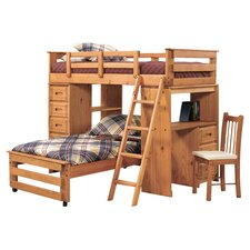 Alexis Twin Over Twin Storage L-Bunk Bed in Honey