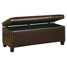 Sky Leather Storage Bench in Chocolate