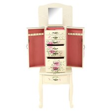 Garden Floral Jewelry Armoire in Ivory