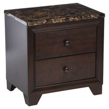 Annetta 2 Drawer Nightstand in Walnut