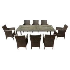 Milan 9 Piece Dining Set in Brown