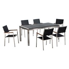 Grosseto 7 Piece Dining Set in Stainless Steel