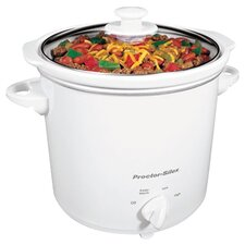 4 Qt Round Crock Pot in White