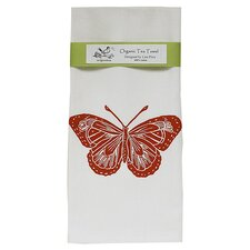 Organic Butterfly Tea Towel in Red & White