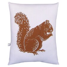 Squirrel Squillow Accent Pillow in Caramel & White