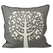 Bird Leaves Silk Pillow in Gray