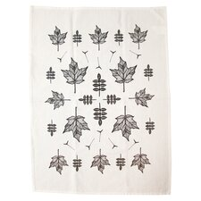 Organic Maple Leaf Tea Towel in Charcoal