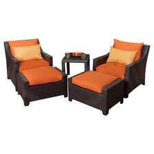 Tikka 5 Piece Seating Group in Espresso with Orange Cushions