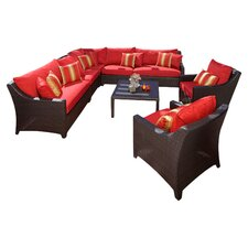 Cantina 9 Piece Deep Group in Espresso with Red Cushions