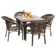 River 5 Piece Dining Set in Brown