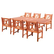 Eucalyptus 7 Piece Cross Back Dining Set in Natural