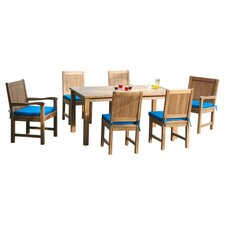 Montage 7 Piece Dining Set in Light Brown with Blue Cushions