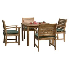 Montage 5 Piece Dining Set in Light Brown with Green Cushions