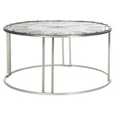 Fox Roman Clock Coffee Table in Dark Silver