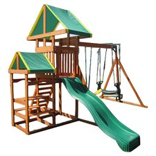 Woodlands Play Swing Set in Natural & Green