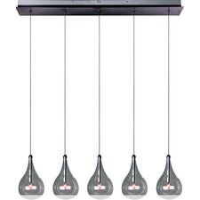 Larmes 5 Light Kitchen Island Pendant in Chrome