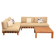 Amazonia Mali 3 Piece Lounge Seating Group in Brown with Beige Cushions