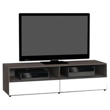 "Allure 60"" TV Stand in White & Ebony"