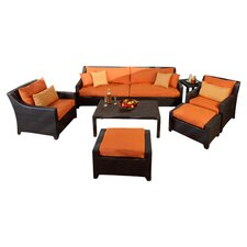 Deco 8 Piece Seating Group in Espresso with Tikka Cushions