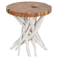 Liberte End Table in Natural & White