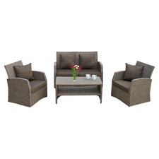 Driago 4 Piece Seating Group in Mixed Cream Black with Brown Cushions