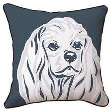 Cocker Spaniel Reversible Throw Pillow in Grey