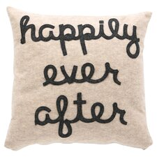 Happily Ever After Throw Pillow in Oatmeal & Charcoal