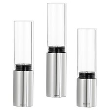 Faro 3 Piece Clear Hurricane Set in Stainless Steel