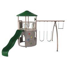 Adventure Tower Play & Swing Set in Green & Grey