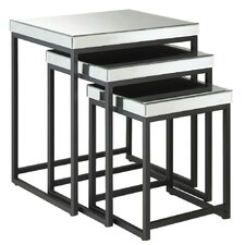 Boylston 3 Piece Mirrored Nesting Table Set in Black