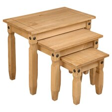 Corona 3 Piece Nest of Tables II in Pine