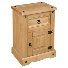 Corona Premium 1 Drawer Bedside Table in Pine